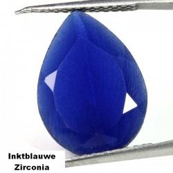 Inktblauwe Zirconia - peer geslepen - 18x13mm