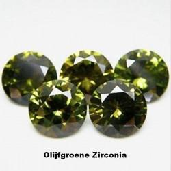 Olijfgroene Zirconia - 4mm - briljant geslepen - 10 stuks
