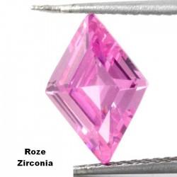 Roze zirconia - ruitvormig geslepen - 10x14,3mm