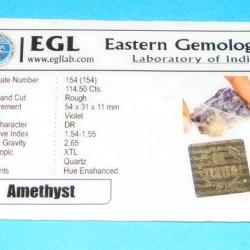 Amethist ACA - Brazilië - 114,50 karaat - met certificaat
