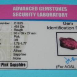 Roze Saffier ACK - Afrika - 468 karaat - met certificaat