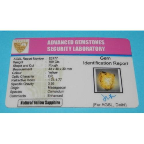 Gele Saffier ACP - Madagaskar - 199 karaat - met certificaat