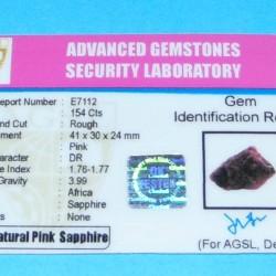 Roze Saffier ACR - Madagaskar - 154 karaat - met certificaat