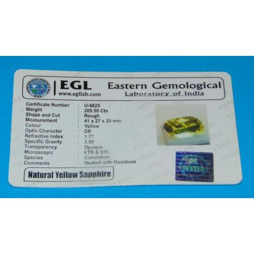 Gele Saffier ACU - Madagaskar - 205,5 karaat - certificaat