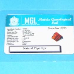 Tijgeroog ACA Brazilië - 91,00 karaat - met certificaat