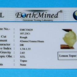 Citroen Topaas ACA - Brazilië - 107,25 karaat - certificaat