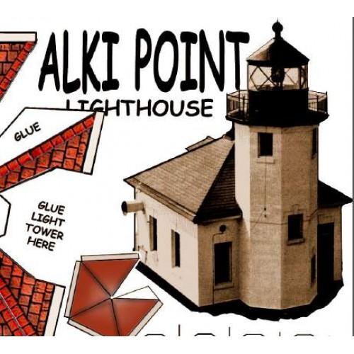 Alki Point vuurtoren in N (1:160) - papieren bouwplaat