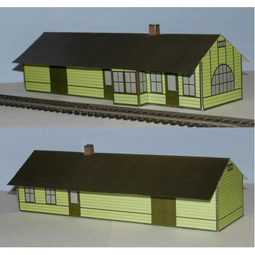 Amerikaans houten station in N (1:160) - beige en rood