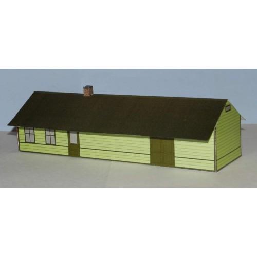 Amerikaans houten station in h0 (1:87) - groen