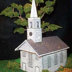 Amerikaans houten kerkje in N (1:160) - papieren bouwplaat