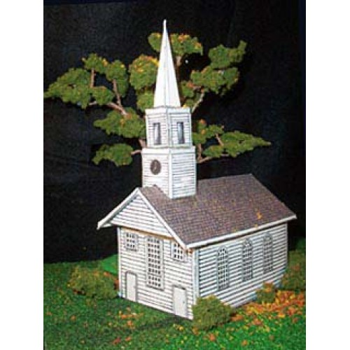 Amerikaans houten kerkje in h0 (1:87) - papieren bouwplaat