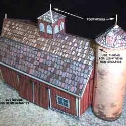 Amerikaanse wagenschuur en silo in N (1:160)