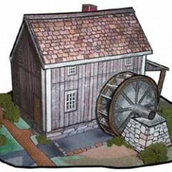 Watermolen in h0 (1:87) - papieren bouwplaat