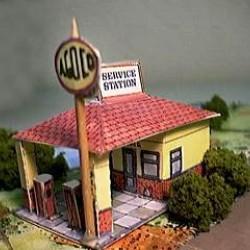 Brits benzinestation in h0 (1:87) - papieren bouwplaat