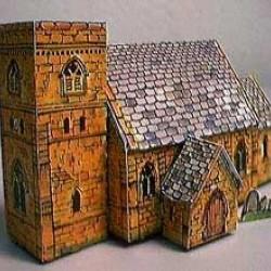 Britse gotische kerk in h0 (1:87) - papieren bouwplaat
