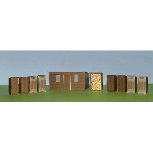 Bijgebouwen in N (1:160) - papieren bouwplaat
