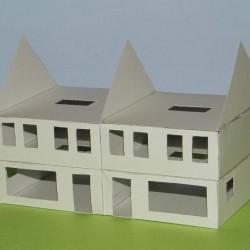 Dubbel woonhuis in aanbouw in 1:50 - papieren bouwplaat