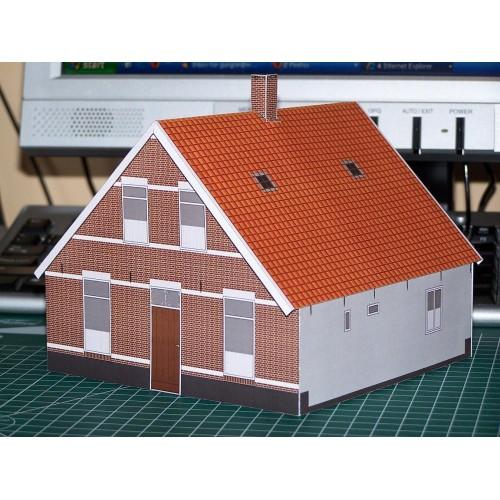 Boerenwoning in 1:60 (Matchbox schaal) - papieren bouwplaat
