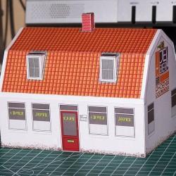 Dorpscafé in schaal 0 (1:43 - papieren bouwplaat
