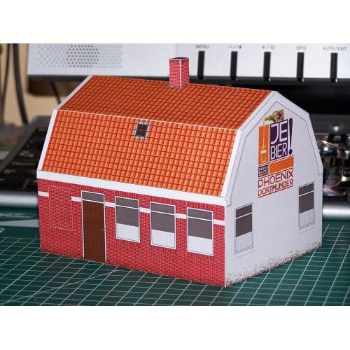 Dorpscafé in schaal N (1:160) - papieren bouwplaat