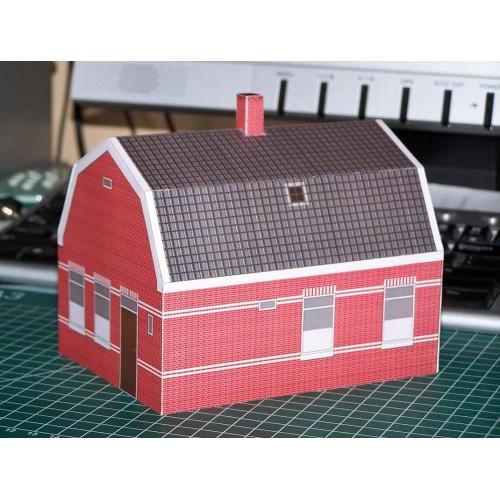 Dorpshuis in 1:56 (28mm) - papieren bouwplaat
