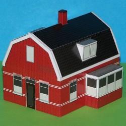 Dorpshuis met uitbouw in N (1:160) - papieren bouwplaat