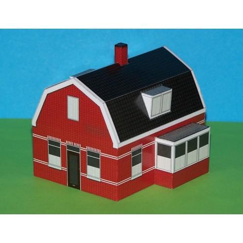 Dorpshuis met uitbouw in 1:100 (FoW) - papieren bouwplaat