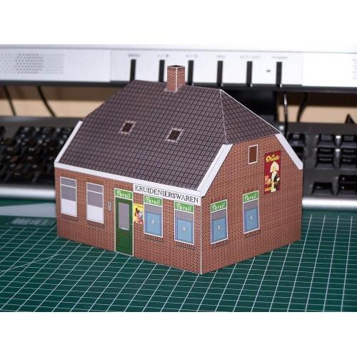 Dorpswinkel in h0 (1:87) - papieren bouwplaat
