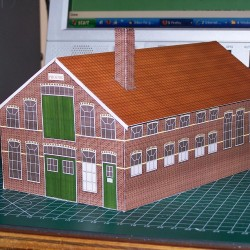 Kantoor- en magazijngebouw in 1:100 - papieren bouwplaat