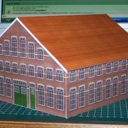 Oude fabriekshal in h0 (1:87) - papieren bouwplaat