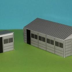 Betonnen garage en schuurtje in 1:60 (Matchbox schaal)