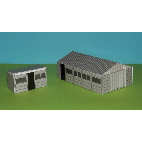 Betonnen garage en schuurtje in Z (1:220)