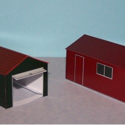 2 Houten garages in 1:100 (FoW etc.) - papieren bouwplaat
