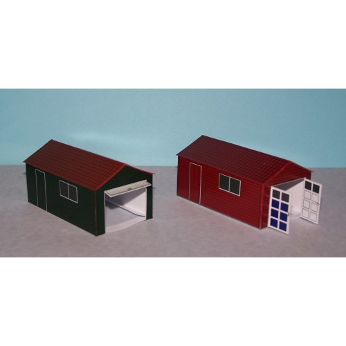 2 Houten garages in h0 (1:87) - papieren bouwplaat