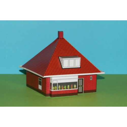 Huis met tentdak in Z (1:220) - papieren bouwplaat