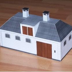 Koetshuis en stal in h0 (1:87) - papieren bouwplaat