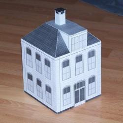 Verbindingsgebouw met twee verdiepingen in h0 (1:87) - pap. bouwplaat