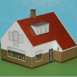 Vrijstaand huis in 1:72 - papieren bouwplaat