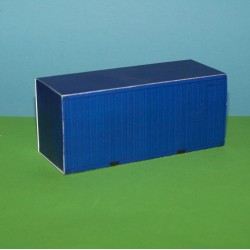 Blauwe 20 voet container in 1:50 - papieren bouwplaat