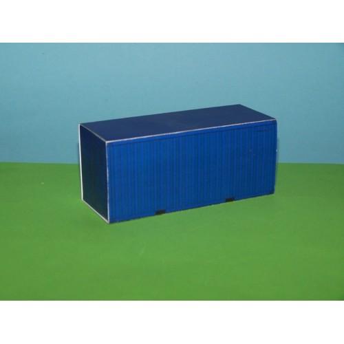 2 Blauwe 20 voet containers in Z (1:220) - papieren bouwplaat