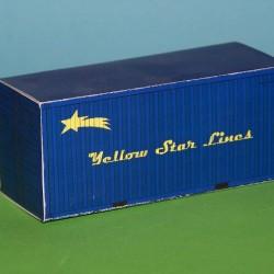 Blauwe 20 voet YSL container in 1:50 - papieren bouwplaat
