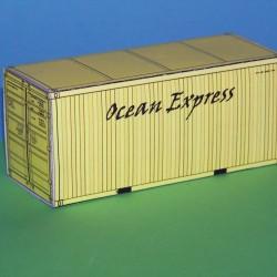2 Gele 20 voet containers OEL in N (1:160) - papieren bouwplaat