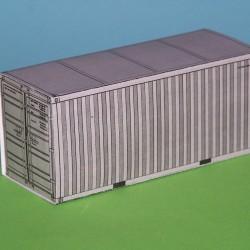 2 Grijze 20 voet containers in N (1:160) - papieren bouwplaat