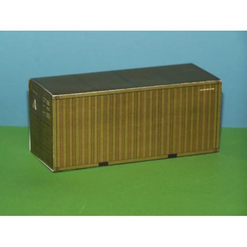 2 Legergroene 20 voet containers in N (1:160) - papieren bouwplaat