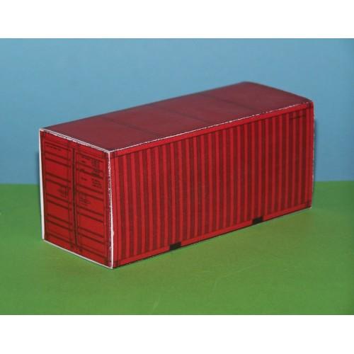 2 Rode 20 voet containers in N (1:160) - papieren bouwplaat