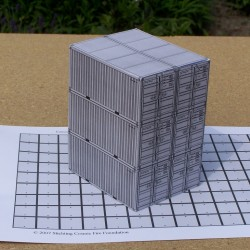 6 Grijze 20 voet containers in 1:50 - papieren bouwplaat