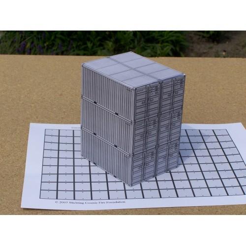 6 Grijze 20 voet containers in h0 (1:87) - papieren bouwplaat