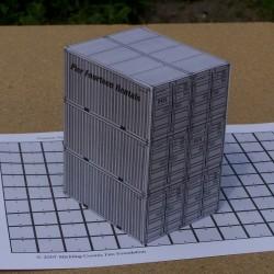 6 Grijze 20 voet containers, gemengd, in 1:50 - papieren bouwplaat