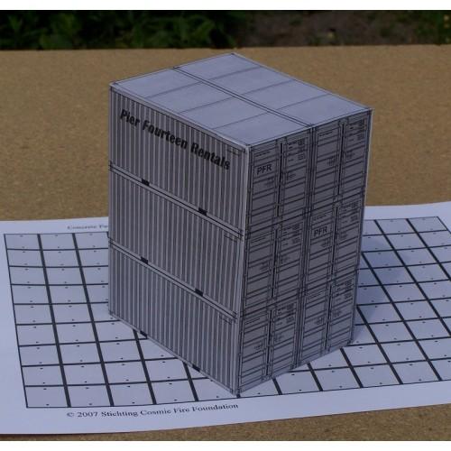 6 Grijze 20 voet containers, gemengd, in N (1:160) - papieren bouwplaat