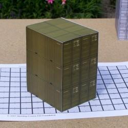 6 Legergroene 20 voet containers in 1:50 - papieren bouwplaat